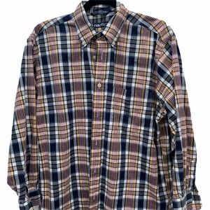 Nautica Classic Blue & Red Plaid Poplin Shirt M